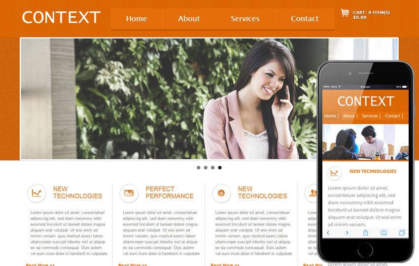 Context mobile web template Mobile website template Free