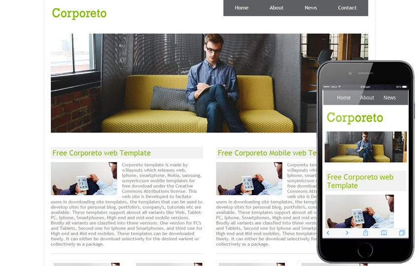 Corporeto Free Corporate Website and Mobile Template Mobile website template Free