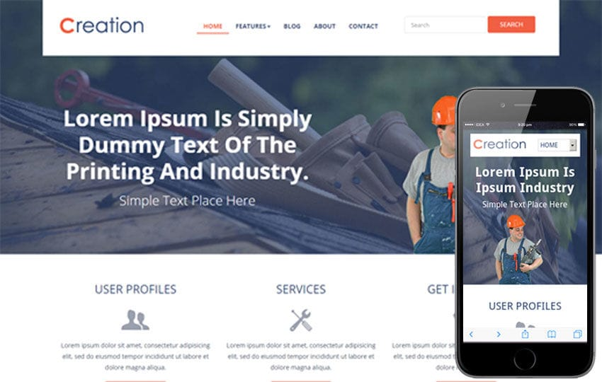 Creation a Flat Industrial Bootstrap Responsive web template