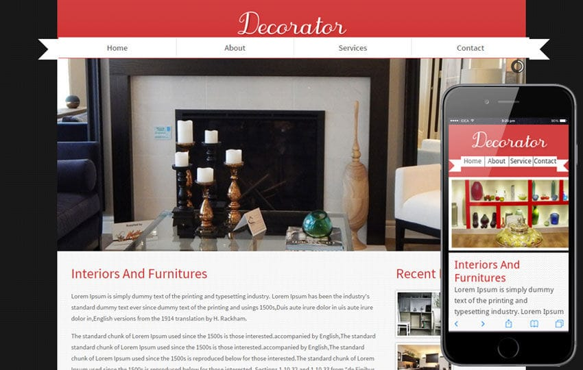 Decorator interior architects Mobile Website Template Mobile website template Free