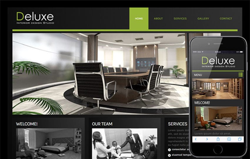 Deluxe interior architects Mobile Website Template Mobile website template Free