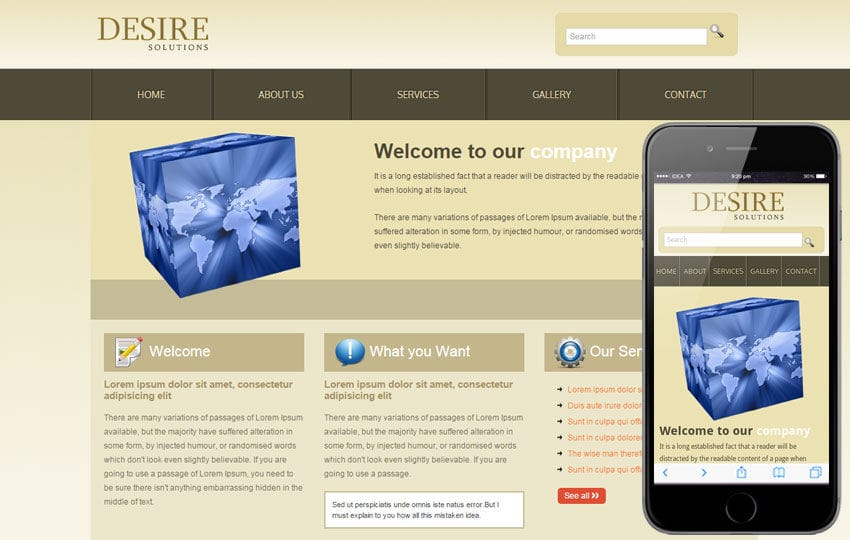 Desire Solutions web template and mobile website template for free Mobile website template Free
