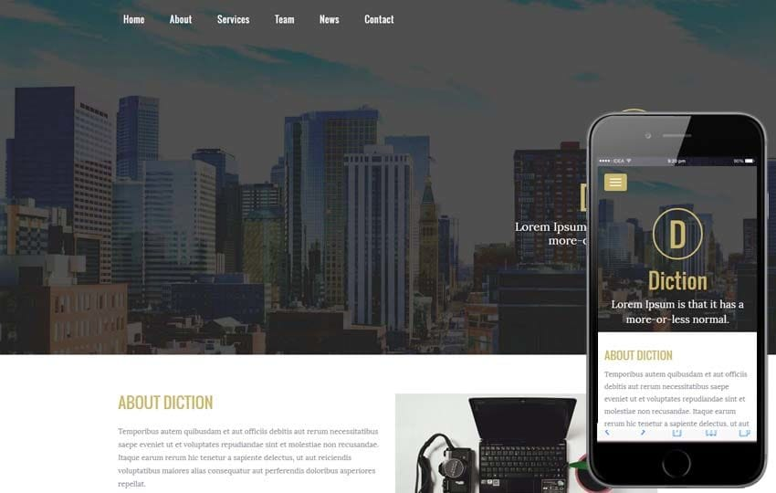 Diction a Corporate Business Flat Bootstrap Responsive Web Template Mobile website template Free