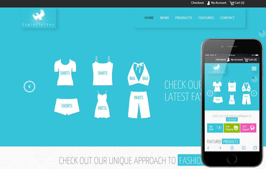 Eagle Cloths a Flat Ecommerce Bootstrap Responsive Web Template Mobile website template Free