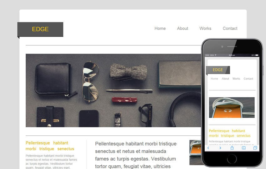 Edge – blogging website and mobile Template for free Mobile website template Free