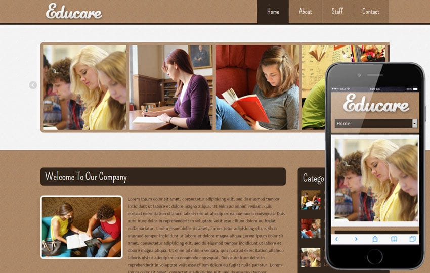 Educare Education Mobile Website Template Mobile website template Free