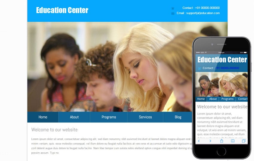 New Education Center web template and mobile web template Mobile website template Free