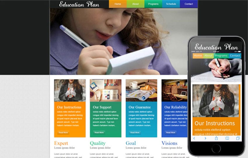 Education Plan web template and mobile website template Mobile website template Free