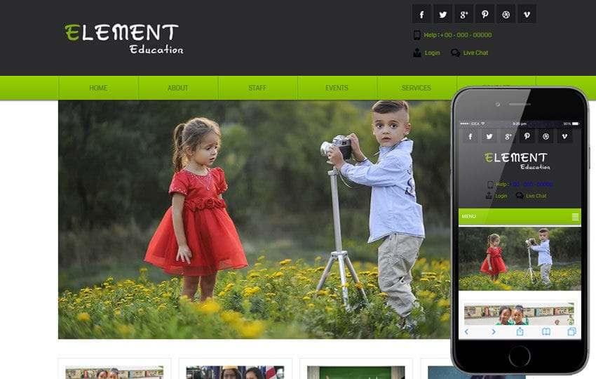 Element Education Mobile Website Template Mobile website template Free