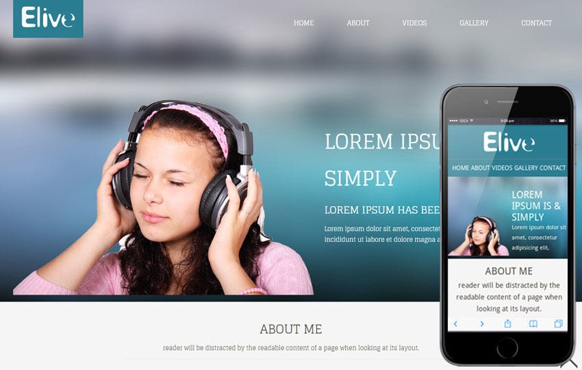 Elive personal portfolio Mobile Website Template Mobile website template Free