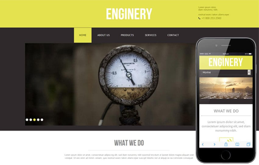 Enginery – An Industrial Mobile Website Template Mobile website template Free