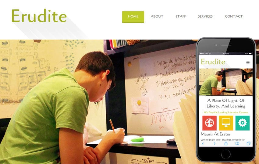 Erudite Education Mobile Website Template Mobile website template Free