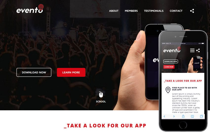 Evento a Mobile App based Flat Bootstrap Responsive Web Template Mobile website template Free