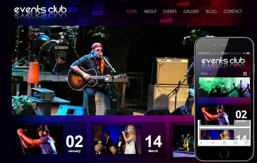 Events Club a Entertainment Mobile Website Template Mobile website template Free