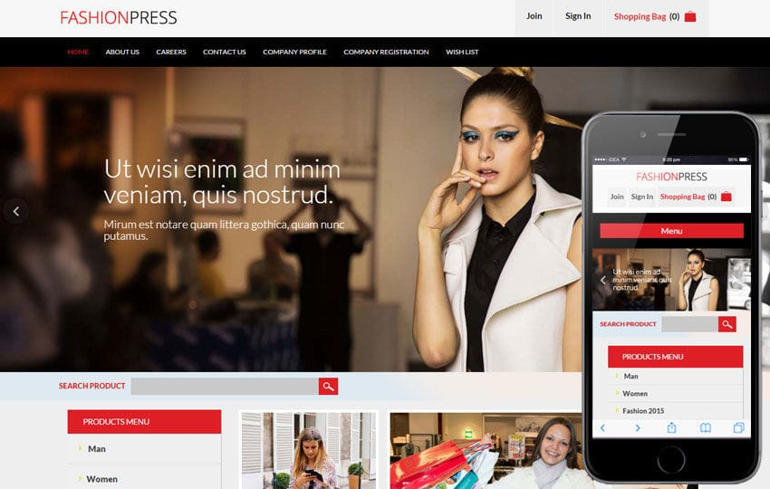 Fashion Press Flat Ecommerce Bootstrap Responsive Web Template Mobile website template Free