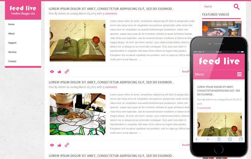 Feedlive Blogging Mobile Website Template Mobile website template Free