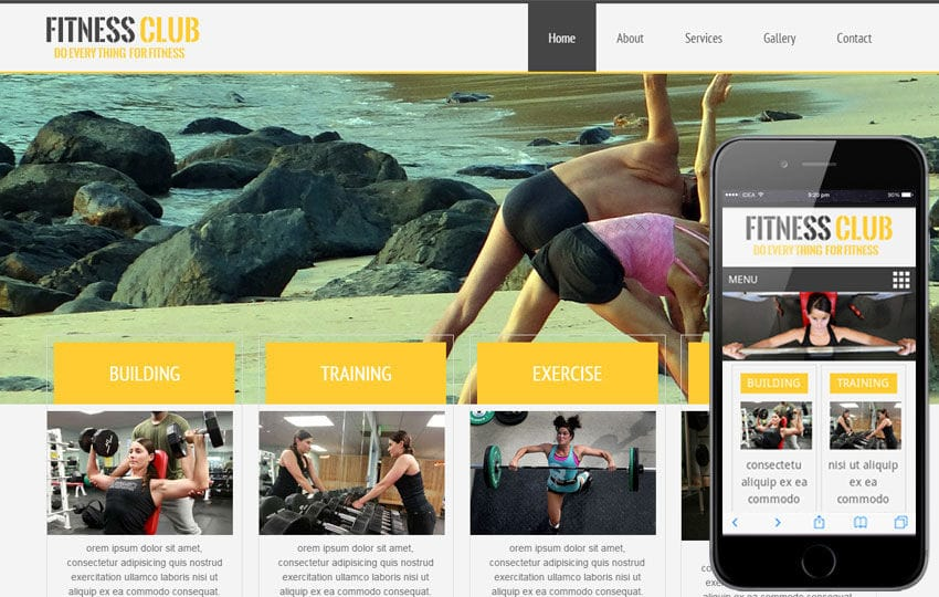 Fitness Club Mobile Website Template Mobile website template Free