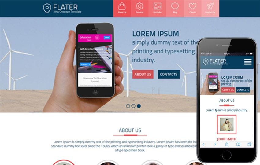 Flater a Single Page Multipurpose Flat Bootstrap Responsive web template Mobile website template Free