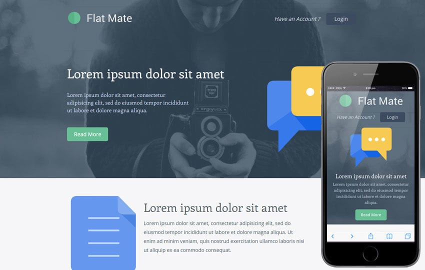 Flatmate a Singlepage Flat Bootstrap Responsive web template Mobile website template Free