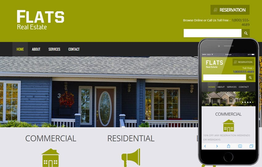 Flats a Real Estate Mobile Website Template Mobile website template Free