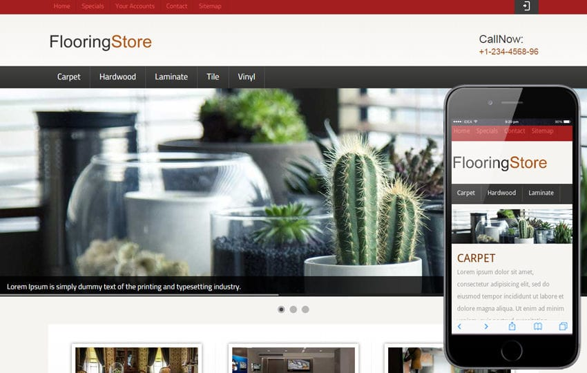 Flooring Store Web and Mobile website template for free Mobile website template Free