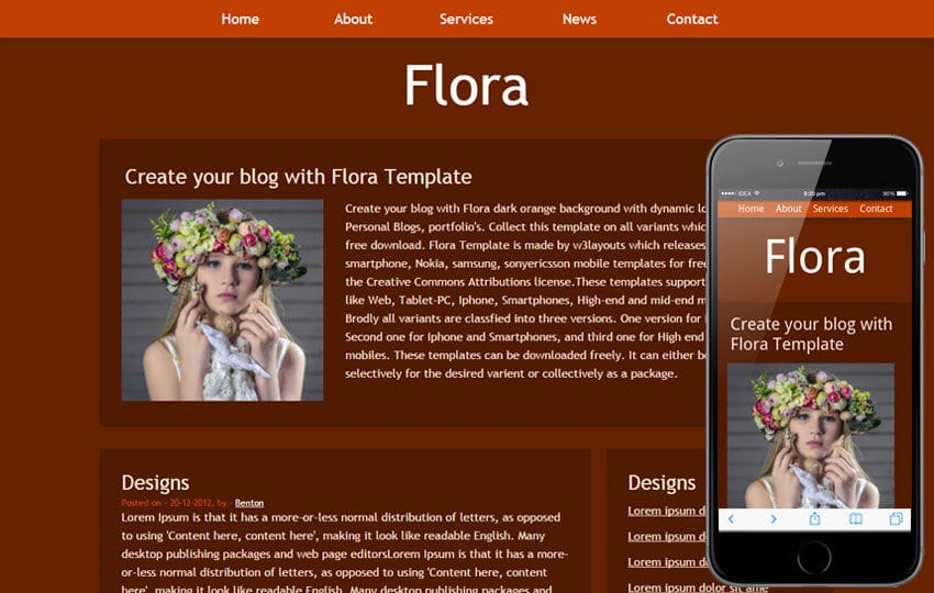 Flora Free Blogging Website and Mobile Template Mobile website template Free