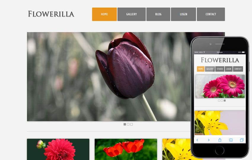 Flowerilla gallery webtemplate and mobile webtemplate for free Mobile website template Free