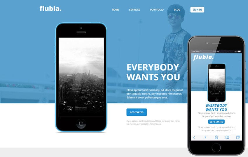 Flubia a Mobile App based Flat Bootstrap Responsive web template Mobile website template Free