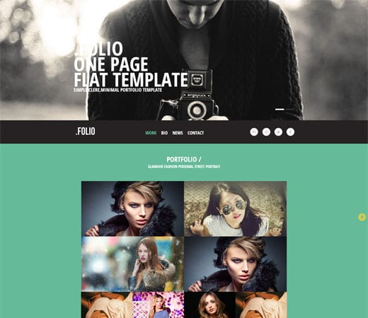 Free website template CSS HTML5 Folio a Photographer portfolio Flat Responsive web template