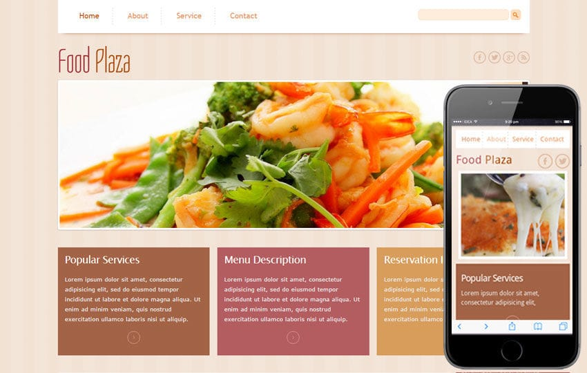 Food Plaza Mobile Website Template Mobile website template Free