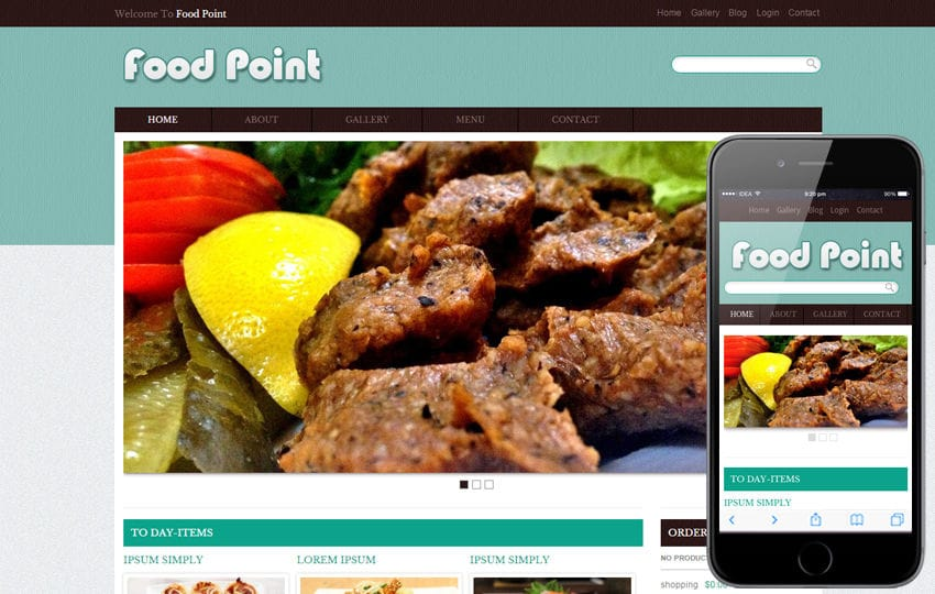 Food Point Web template and mobile website template for free Mobile website template Free