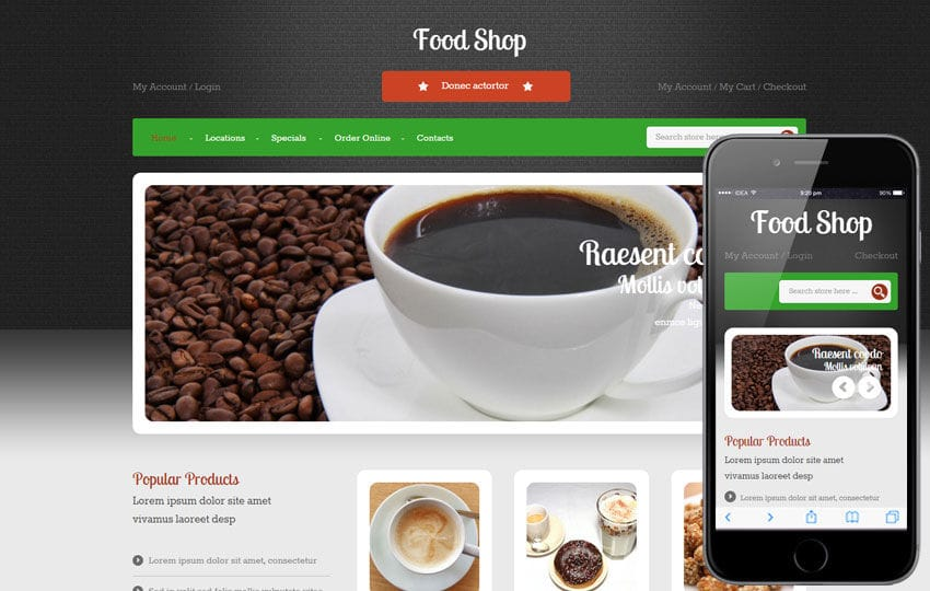 Food Shop a Hotel Category Flat Bootstrap Responsive Web Template Mobile website template Free