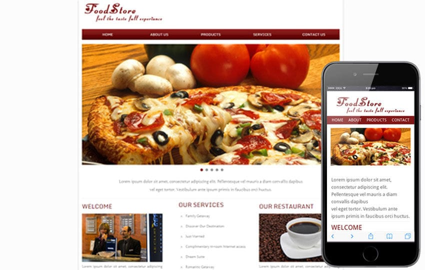 Food Store Web and Mobile website template for free Mobile website template Free