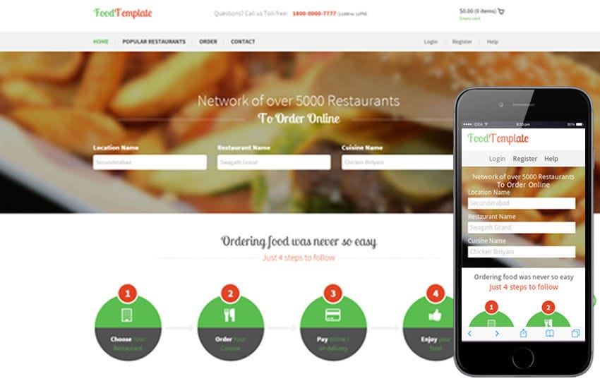 Food Template A Restaurant Flat Bootstrap Responsive Web Template By