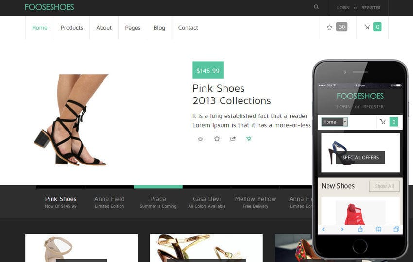FooseShoes a Flat ECommerce Responsive Web Template Mobile website template Free