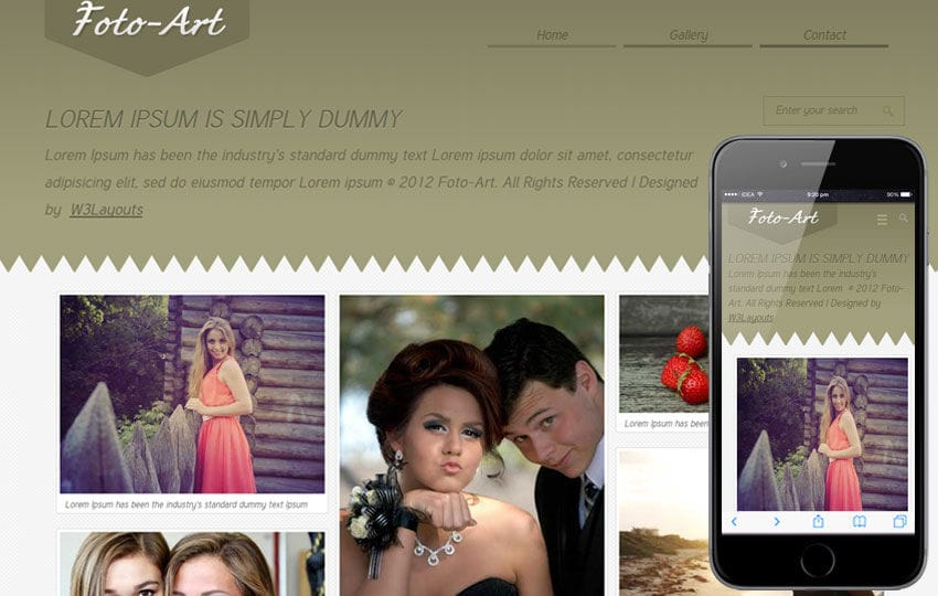 Foto Art Gallery Mobile Website Template Mobile website template Free