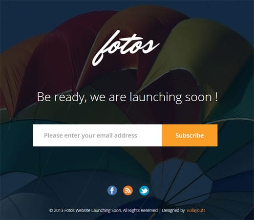 Free website template CSS HTML5 Fotos Website Launching Soon Mobile Website Template