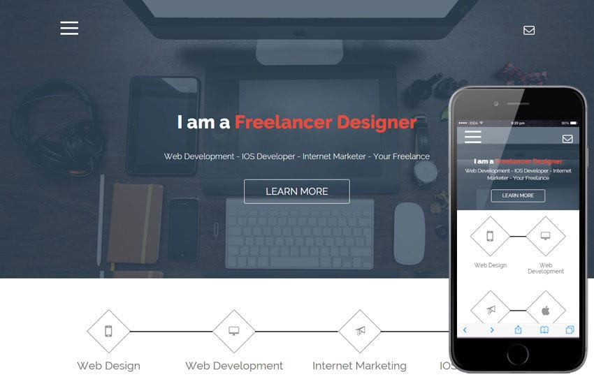 Freelance a Onepage Portfolio Flat Bootstrap Responsive Web Template Mobile website template Free