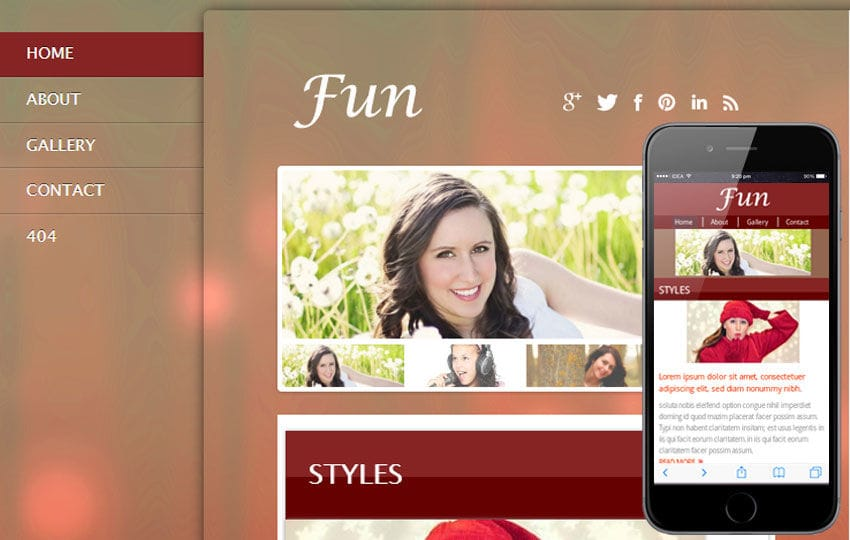 Fun Gallery Mobile Website Template Mobile website template Free