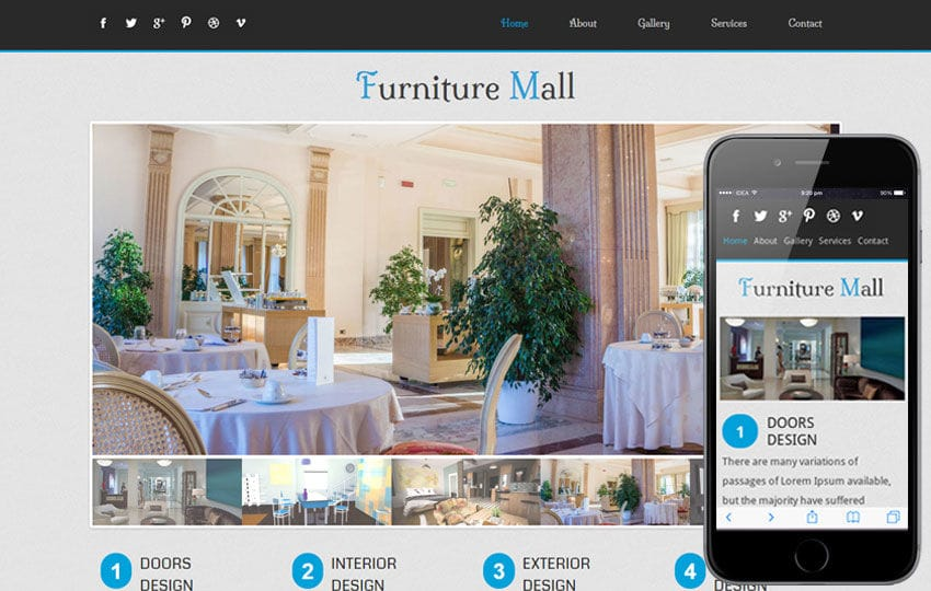 Furniture Mall Mobile Website Template Mobile website template Free