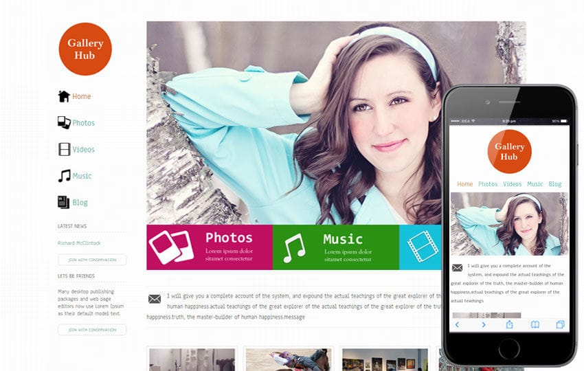 Gallery Hub entertainment website for free Mobile website template Free