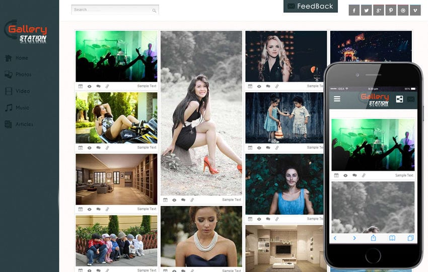 Image gallery website template gallery in black gallery flash.