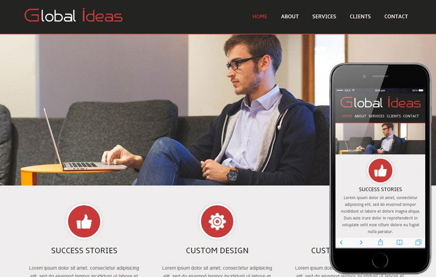 Global Ideas Corporate Mobile website Template by w3layouts