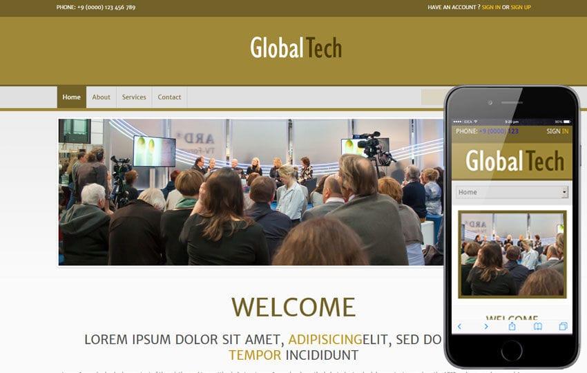 Global Tech Corporate Business Mobile Website Template Mobile website template Free