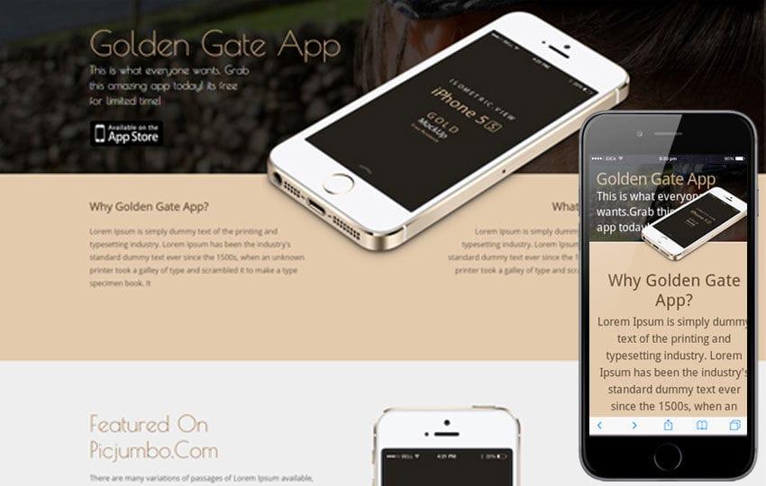 Golden Gate A Sleek Responsive Mobile website template Mobile website template Free