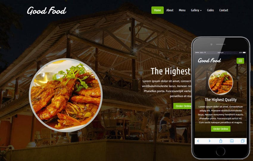 Good Food a Hotel Category Flat Bootstrap Responsive Web Template Mobile website template Free