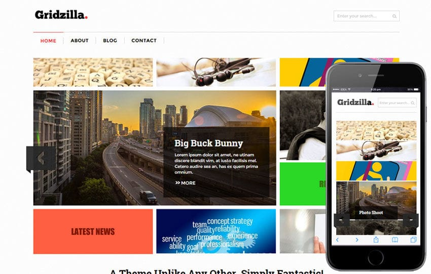 Gridzilla Corporate Multipurpose Flat Bootstrap Responsive Web Template Mobile website template Free
