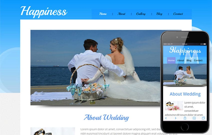Happiness wedding planner Mobile Website Template Mobile website template Free