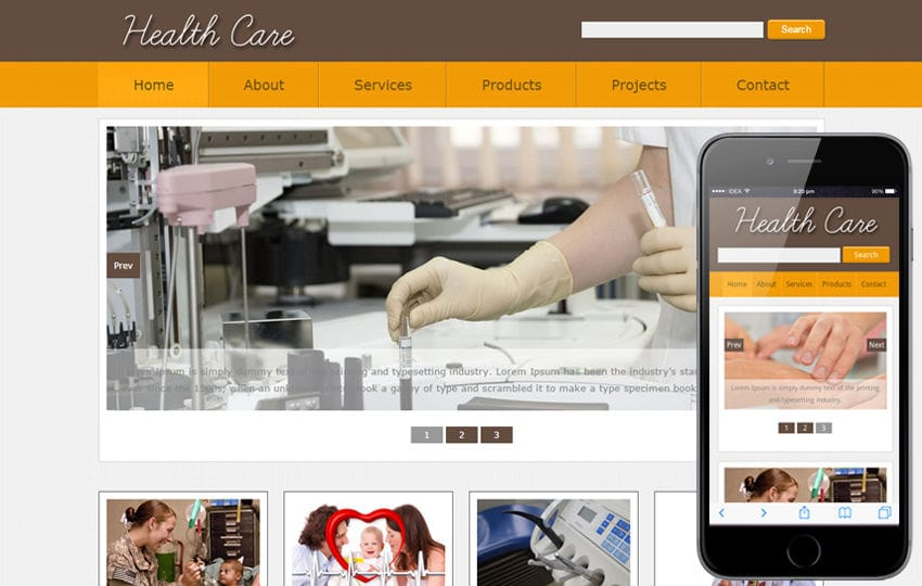 New Health Care web template and mobile web website template for ...