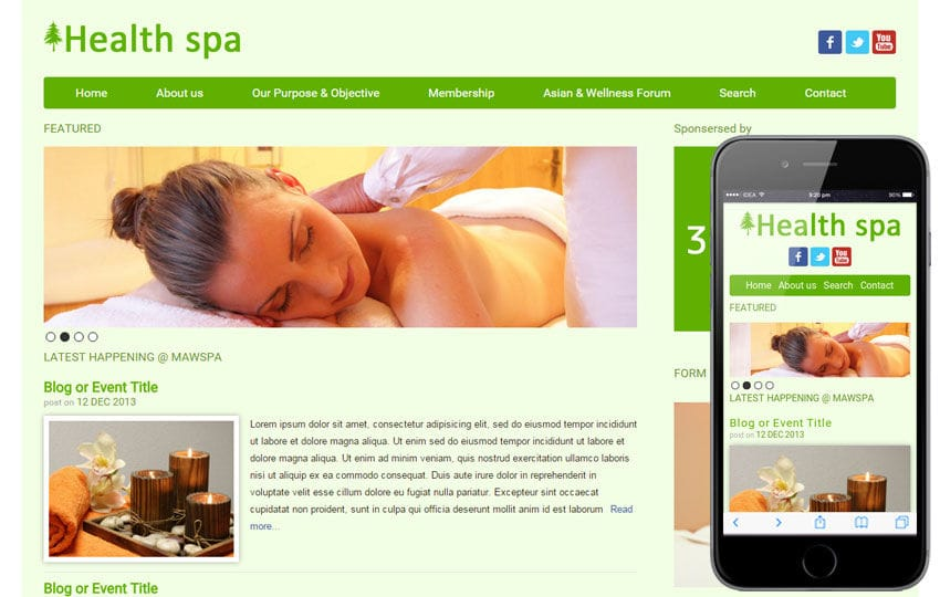 Health Spa Beauty Parlour Mobile Website Template by w3layouts